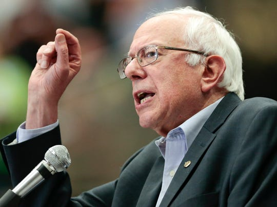 Democratic presidential candidate Sen. Bernie Sanders speaks during a political rally in Madison, Wis., Wednesday, July 1, 2015. (Michael P. King/Wisconsin State Journal via AP)