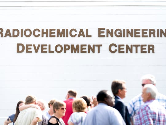 Attendees at the Radiochemical Engineering Development Center at Oak Ridge National Laboratory on Wednesday, May 16, 2018.