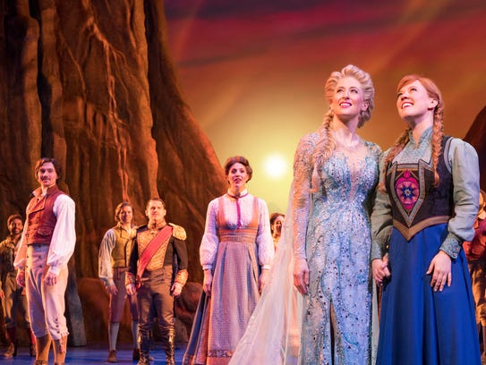 Caissie Levy as Elsa, left, and Patti Murin as Anna