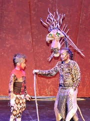 "Brayden Eaton (Young Simba), left, and Edona Vuli (Scar) prepare for the Prelude Theater Group production of ""The Lion King, Jr."""