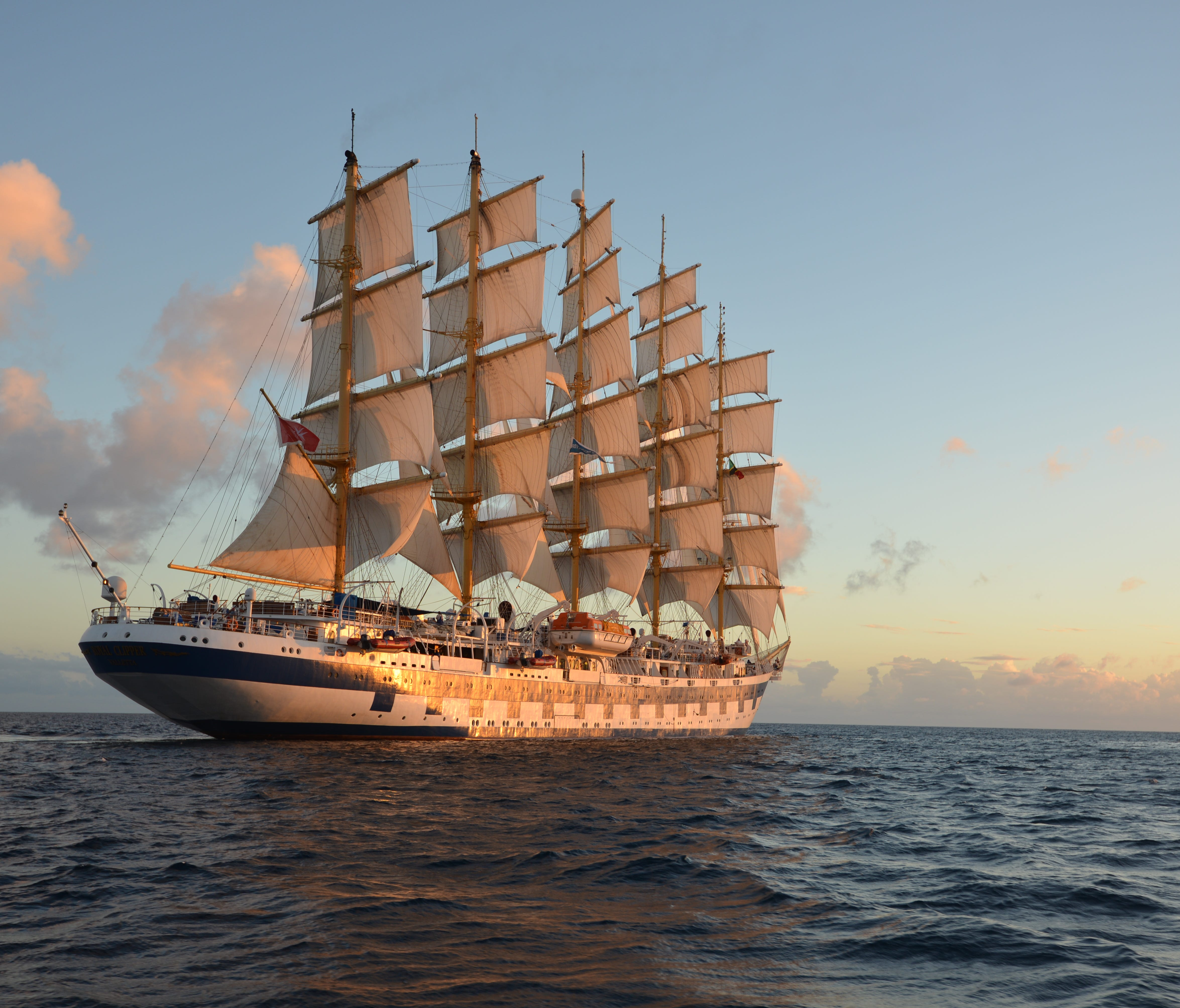 Modeled on the Preussen, an iconic sailing ship of the early 20th century, Royal Clipper is propelled by 42 sails spread across five masts.
