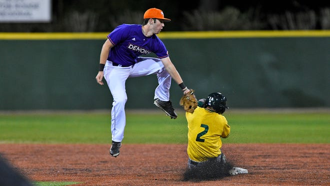 Northwestern State's David Fry applies the tag.