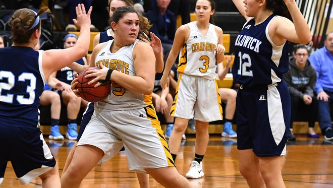 Cedar Grove's Kelly Zaccaria (white) pulls down a rebound against Waldwick in the first round of the North 1, Group 1 tournament.