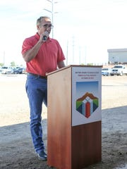 Mike Abatti speaks at the dedication ceremony for the