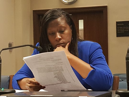 Rep. Katrina Jackson, D-Monroe, testifies before the Senate Judiciary C Committee Tuesday on bills to penalize attacks on police officers, firefighters and EMT personnel
