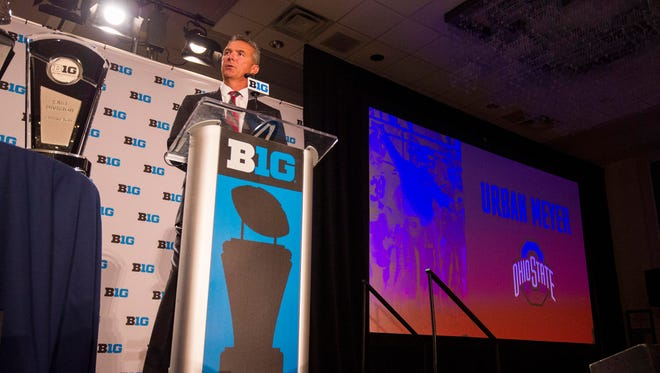 Ohio State football coach Urban Meyer spent the first 6 of his allotted 15 minutes at the podium Tuesday at Big Ten Media Days fielding questions about his firing of assistant coach Zach Smith.