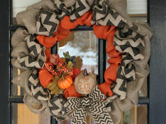 Burlap wreaths are popular for fall and easy to make.