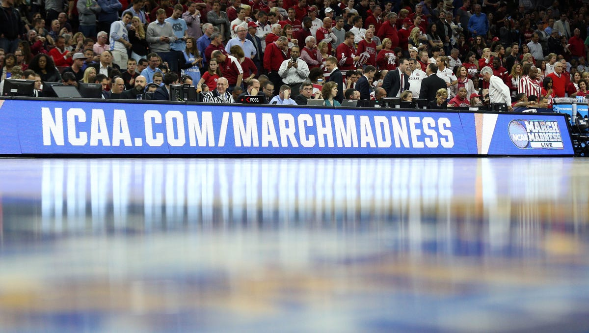 Mar 25, 2016; Philadelphia, PA, USA; General view of the NCAA March Madness logo during the second half in a semifinal game between the North Carolina Tar Heels and the Indiana Hoosiers in the East regional of the NCAA Tournament at Wells Fargo Center. Mandatory Credit: Bill Streicher-USA TODAY Sports