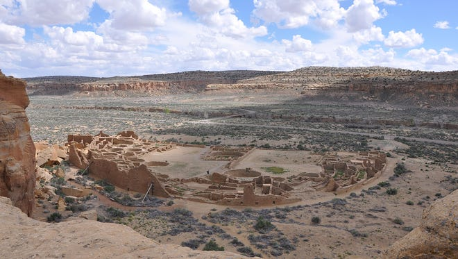 Pueblo Bonito as seen from the northern rim of Chaco Canyon, N.M.