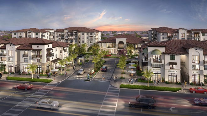 Rendering of CasaMara, a mixed-use apartment and retail complex under construction on South Dixie Highway in West Palm Beach.
