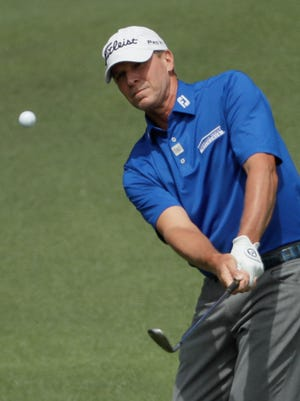 Steve Stricker hits to the second green during the third round of the Masters.