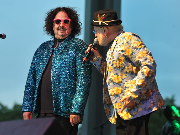 Mark Volman, left, gets criticism of his wardrobe from Howard Kaylan, as the two men, best know as the frontmen for The Turtles, started their show in the Happy Together Tour 2014 concert on the Free Stage at the Indiana State Fair Tuesday August 12, 2014