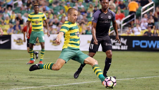 Midfielder Joe Cole, shown booting the ball here, is in his second season with the Tampa Bay Rowdies. He had 182 appearances with Chelsea of the English Premier League and was on three EPL title teams.
