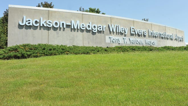 Jackson-Medgar Wiley Evers International Airport sign.