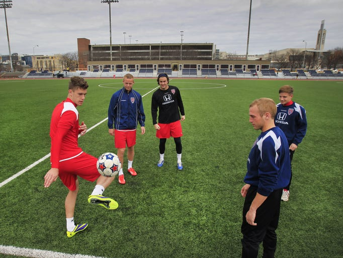 Indy Eleven players get ready for practice on Wednesday, April 2, 2014 at Carroll Stadium at IUPUI as they prepare for the inaugural season of Indiana's new professional soccer team. The first game will be played at home against the Carolina RailHawks this Saturday at 7:30 p.m.