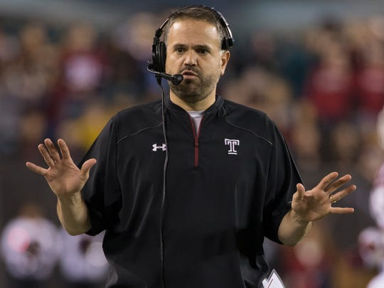 In this Nov. 28, 2015, file photo, Temple head coach Matt Rhule reacts during the first half of an NCAA college football game against Connecticut, in Philadelphia. Rhule is the new coach at Baylor, where he takes over a beleaguered Big 12 Conference program after winning 20 games over the past two seasons at Temple. (AP Photo/Chris Szagola, File)