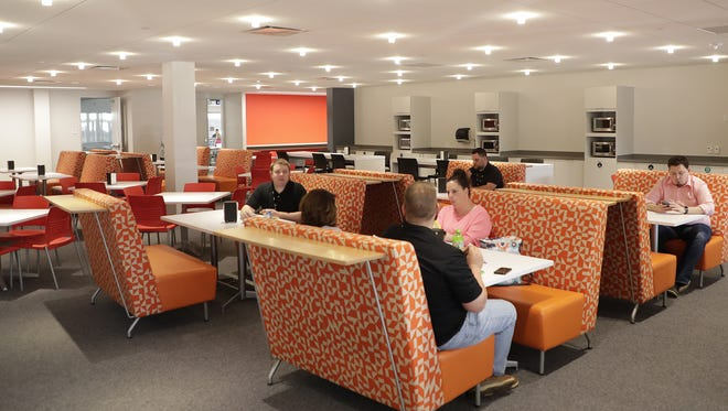 Imperial Supply has moved its headquarters into downtown Green Bay at 300 N. Madison Street. The lunch room features comfortable furniture and open space Tuesday, June 5, 2018 in Green Bay, Wis.