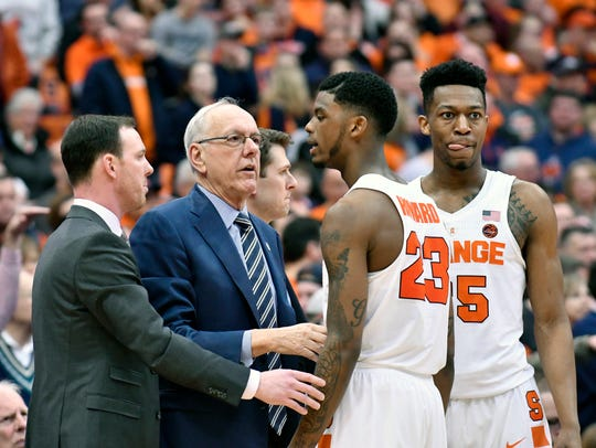 Syracuse Orange head coach Jim Boeheim and assistant