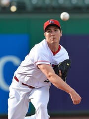 Homer Bailey warms up on a rehab assignment in Louisville in 2016.
