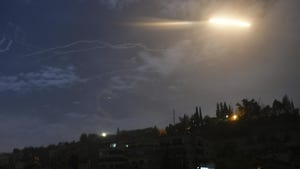 In this photo released by the Syrian official news agency SANA, shows missiles flying into the sky near international airport, in Damascus, Syria, Jan. 21, 2019. In a very unusual move, the Israeli military has issued a statement saying it is attacking Iranian military targets in Syria. It is also warning Syrian authorities not to retaliate against Israel.