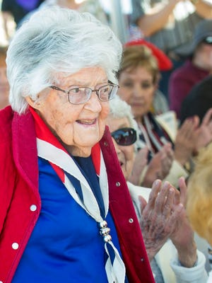 Betty Sompii, who is 102 years old and served in the Women Auxiliary Army Corps during World War II, is honored on Saturday, March 10, 2018, as the United Military Women of the SouthWest (UMWSW) officially dedicate the Women Veterans Monument at Veterans Memorial Park.