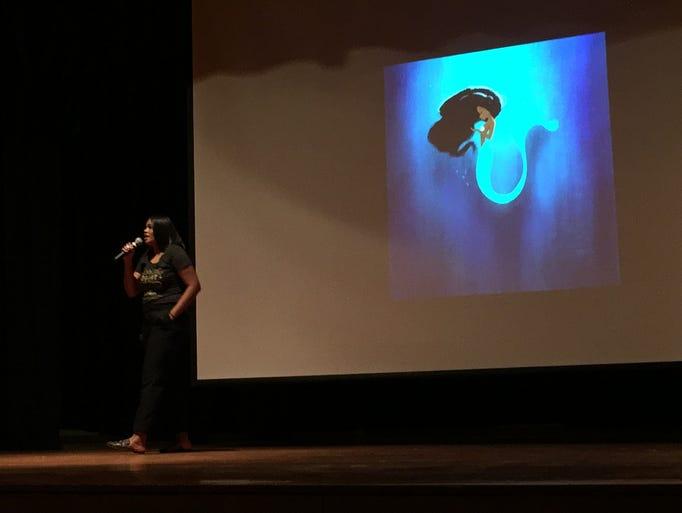 Illustrator and author Vashti Harrison speaks to students