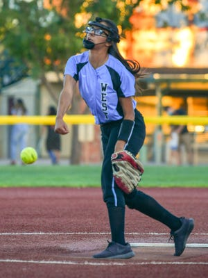 Pueblo West junior Jen Keck throws a pitch during the Hornet Invite in September. Keck is the Cyclones' starting pitcher and one of the team's leaders.