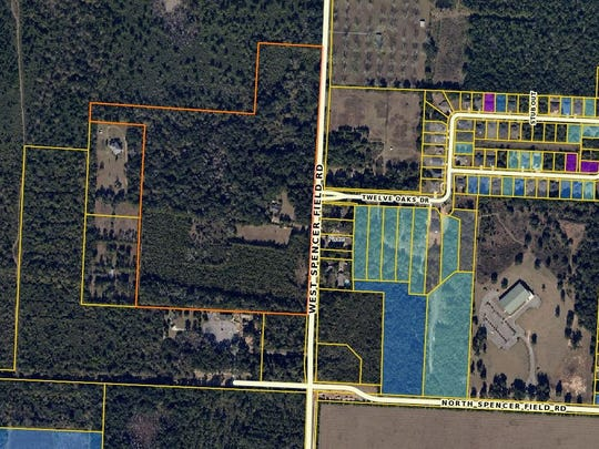 The property outlined in orange, next to Benny Russell Park in Pace, will be the future site of the Robinson/Hall Family Farm and Preserve, a historic farmstead being developed by the University of West Florida Historic Trust.