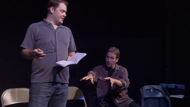 "Actor Dan Klarer, left, works with director Robert Boles in rehearsal for ""Every Brilliant Thing,'' a bittersweet comedy about depression and suicide making its Wisconsin premiere at Third Avenue Playhouse in Sturgeon Bay."