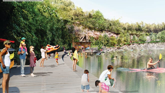 An artist's rendering shows plans upgrading Fort Dickeson Park's lake quarry.