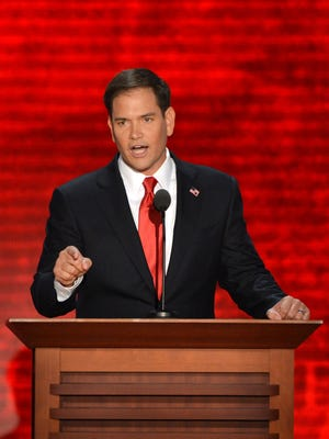 US Senator from Florida Marco Rubio addresses the audience at the Tampa Bay Times Forum in Tampa, Florida, on August 30, 2012 on the final day of the Republican National Convention (RNC). Florida GOP Sen. Marco Rubio, who is running for president, said the U.S. shouldn't admit any Syrian refugees because they can't be properly vetted.