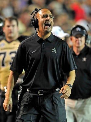 Vanderbilt Coach James Franklin yells during the second quarter against UAB at Vanderbilt Stadium in Nashville, Tenn., Saturday, Sept. 28, 2013.
