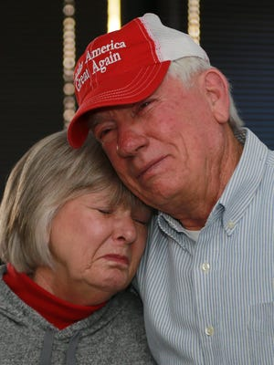 Tom and Mary Holmsley shed happy tears as they listened to the national anthem to conclude the inauguration ceremony for President Donald Trump Friday.