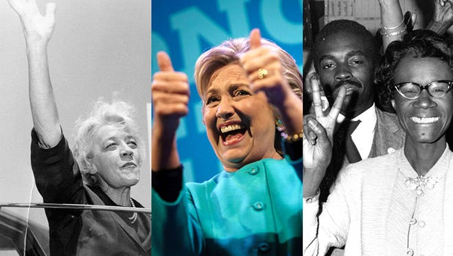 From left, Former U.S. Sen. Margaret Chase Smith, R-Maine, Democratic presidential candidate Hillary Clinton and Rep. Shirley Chisholm, (D-NY).