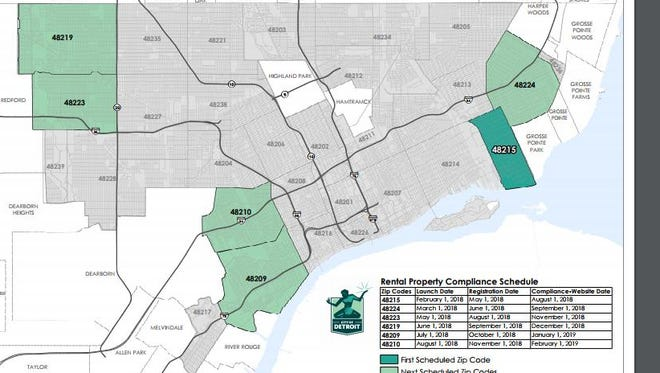 Detroit officials announced on Monday the six ZIP codes where they'll launch a new effort starting next month to inspect all city rentals.