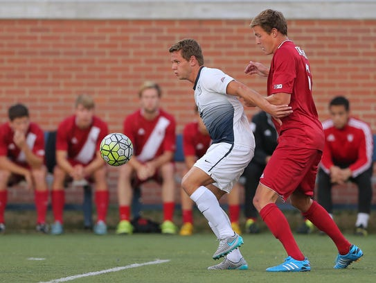 FILE – Butler's David Goldsmith protects the ball from