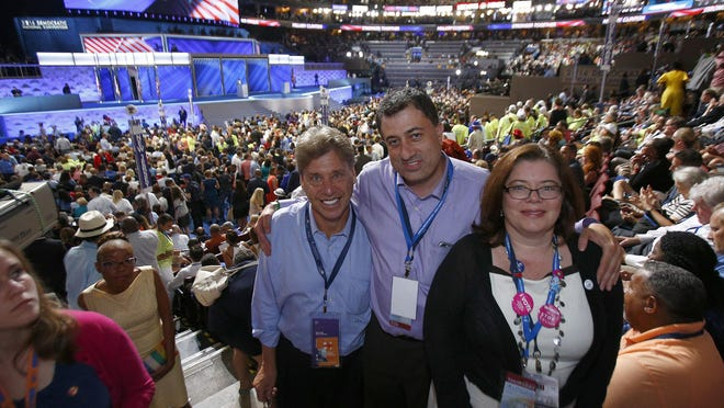 Shown together in the New Jersey Delegation on the final night at the Democratic National Convention in Philadelphia, PA, Thursday, July 28, 2016, are (l-r): National Finance committeeman Philip Sellinger, Morris County Democratic Chairman Chip Robinson and Bluewave NJ political director Kimberly Hurdman.