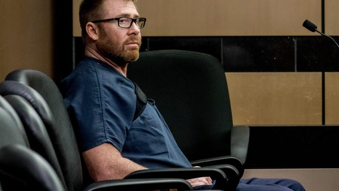 Former Miami-Dade firefighter Kevin Kerlin, charged with solicitation of a minor, sits in the courtroom at the Palm Beach County Courthouse on Monday, September 16, 2019.