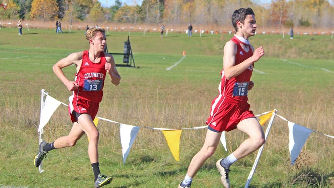 The Coldwater effort was led by the duo of Myron Lafty (right) and John Aerts (left) who eye the finish at the pre-regional Saturday. Aerts would finish fifth while Lafty took sixth.