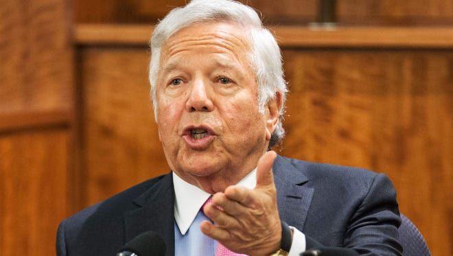 Robert Kraft testifies during the murder trial of former New England Patriots tight end Aaron Hernandez at Bristol County Superior Court in Fall River, Mass.