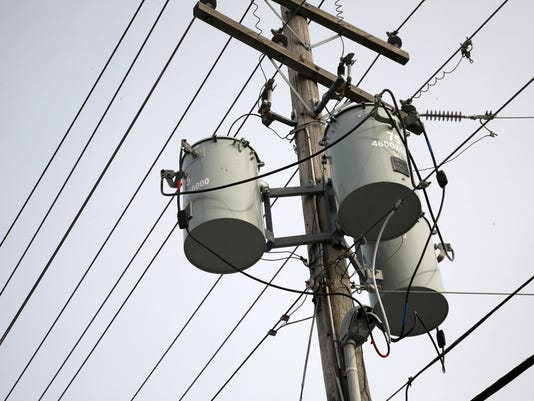 Utility pole and power lines and transformers
