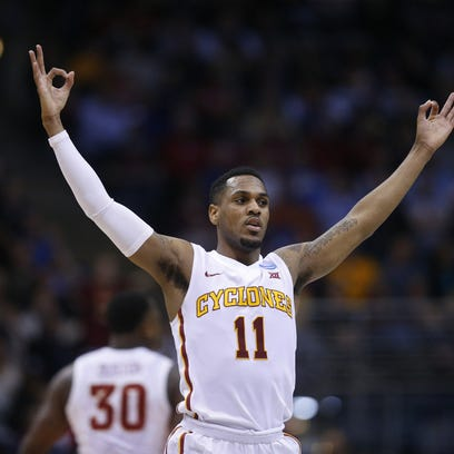 Iowa State's Monte Morris celebrates after a teammate