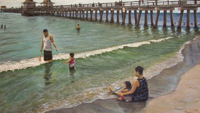 """Naples Pier,"" by Tony Rosa; 16 by 20 inches, oil on canvas"