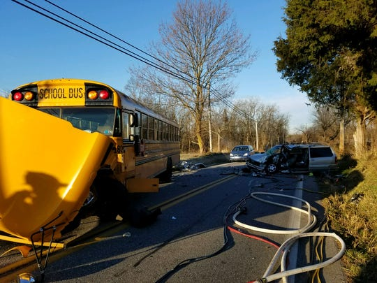 Thirteen students escaped injury when their bus collided with a minivan on Davidsburg Road in Dover Twp. on Tuesday, Nov. 21, 2017, police said. The bus driver suffered minor injuries and the minivan driver was badly hurt, police said.