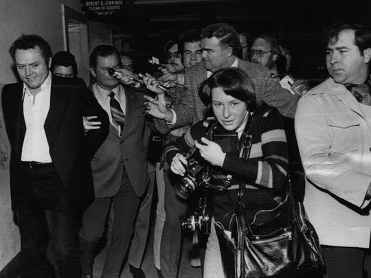 Larry Flynt, Hustler magazine publisher, heads to jail following his obscenity trial In the Hamilton County Courthouse on February 9, 1977.