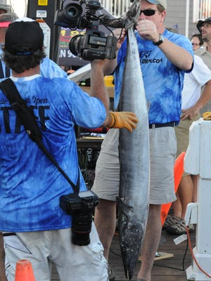 Got fish too brought in a 3rd place wahoo with a weight of 41lbs. During the 4th day of the 43rd White Marlin Open in Ocean City, Md. Megan Raymond Photo