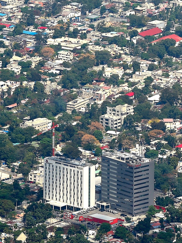 Aerial views of Port-au-Prince, Haiti, showing the
