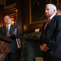 Wisconsin Assembly Speaker Robin Vos, R-Rochester, left, speaks about the ongoing state budget deliberations during a press conference held by the Republican legislative leaders as Senate Majority Leader Scott Fitzgerald, R-Juneau, looks on in the Senate Parlor of the Wisconsin State Capitol in Madison, Wis., on Wednesday, July 1, 2015.