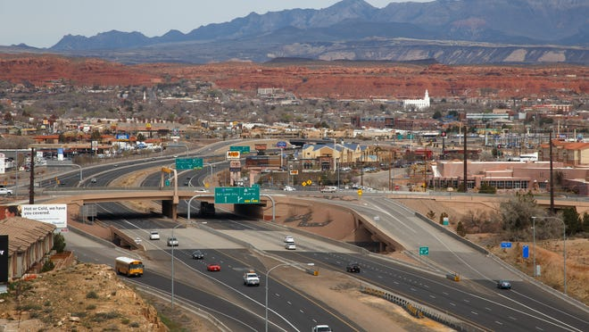 Drivers navigate the interchange at the intersection of Dixie Drive and Interstate 15, March 5 in St. George. Road crews are expected to begin work on new bridges and travel lanes in the area as part of an expansion project this year.