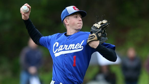 Carmel's Jack Sullivan pitching against Mahopac during